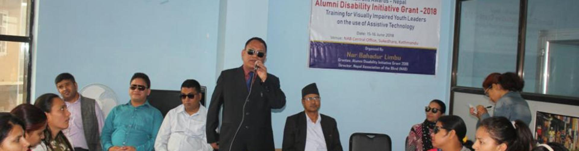 Mr. Limbu conducted the assistive technology training to BVI youth with the support of Australia Awards Nepal Alumni Disability Initiative grant- 2018