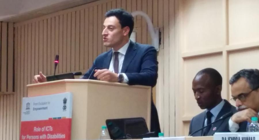 "Mr. Falace speaking at the Unesco organized event "" From Exclusion to Empowerment"" in New Delhi"