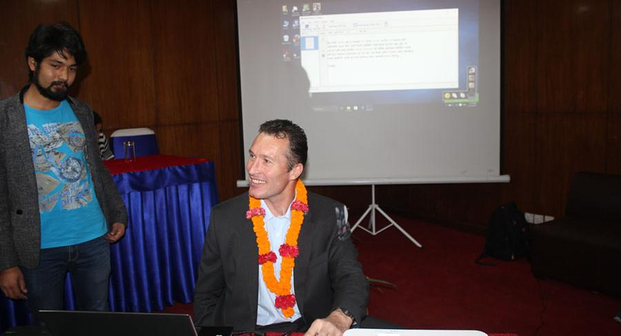 With the support of Australian Embassy DAP project, NAB developed Nepali OCR software in 2017. The software gives access to read Nepali printed documents to BVI people and persons with print disability.  In this photo, H.E. Peter Bud, the Australian Ambassador is releasing the software.