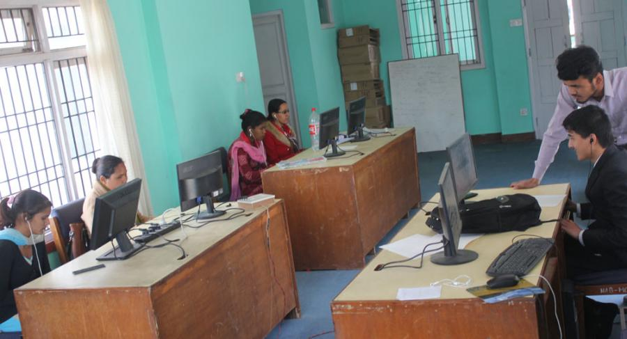 NAB is running computer training to BVI people at its own lab in Kathmandu