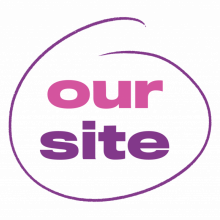 Pink and purple logo spelling: Our Site, inside a purple circle.